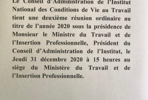 Communiqué: L'INCVT tient une réunion ordinaire de son conseil d'administration au titre de l'année 2020